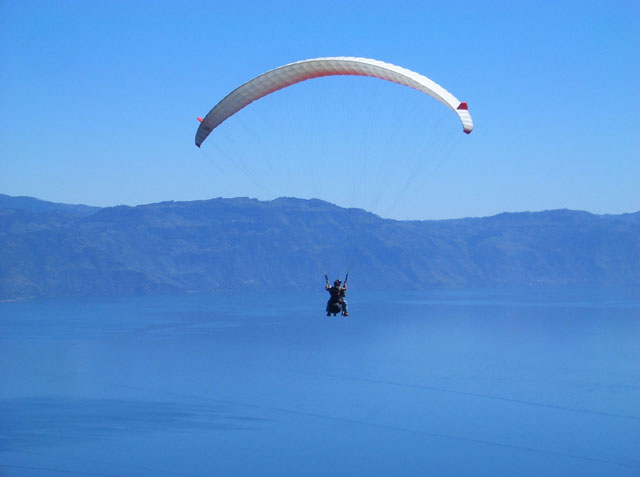 Paragliding near Pasajcap on Lake Atitlan Guatemala